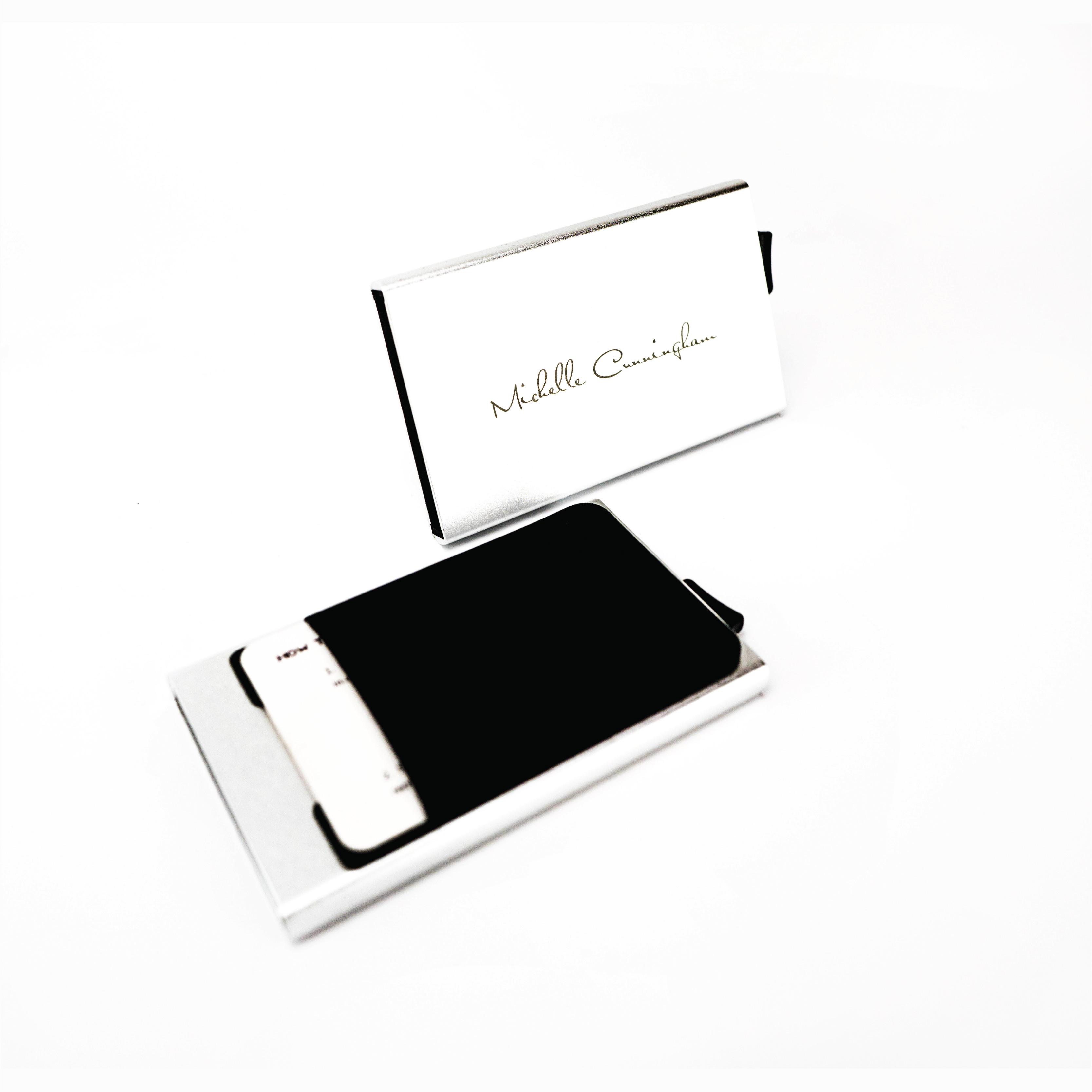 Laser Engraved Silver Slide Wallet
