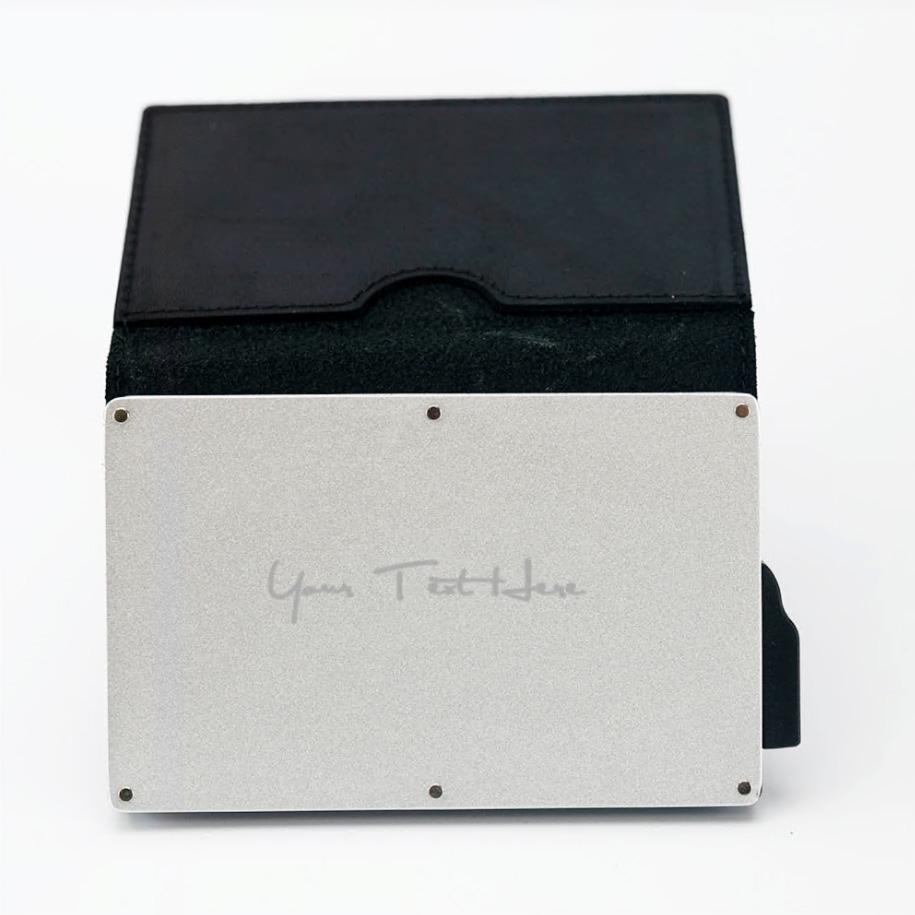 Laser Engraved Black Leather Wallet
